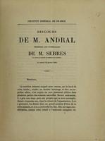 view Discours de M. Andral prononcé aux funérailles de M. Serres. [Followed by] Discours de M. Chevreul / [G. Andral].