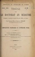 view Complications pulmonaires de l'épithélioma buccal ... / par François-Marie-Stéphane Guillot.