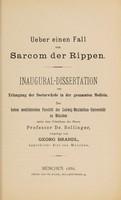 view Ueber einen Fall von Sarcom der Rippen ... / vorgelegt von Georg Brandl.