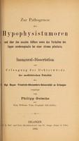 view Zur Pathogenese der Hypophysistumoren und über den nasalen Abfluss sowie das Verhalten des liquor cerebrospinalis bei einer struma pituitaria ...