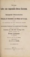 view Beiträge zur Lehre von inoperabeln Uterus-Carcinom ... / Ernst Gebauer.