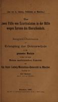view Über zwei Fälle von Exarticulation in der Hüfte wegen Sarcom des Oberschenkels ...