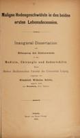 view Maligne Hodengeschwülste in den beiden ertsen Lebensdecennien ... / vorgelegt von Friedrich Wilhelm Schön.