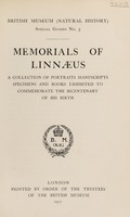 view Memorials of Linnæus : a collection of portraits, manuscripts, specimens and books exhibited to commemorate the bicentenary of his birth.
