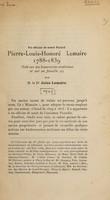 view Pierre Louis Honoré Lemaire 1788-1839 : note sur ses honoraires médicaux et sur sa famille.