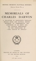 view Memorials of Charles Darwin. A collection of manuscripts, portraits, medals, books, and natural history specimens to commemorate the Centenary of his birth and the fiftieth anniversary of the publication of 'The origin of species'.
