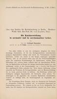 view Die Katalasewirkung in normaler und in carcinomatöser Leber / von Ferdinand Blumenthal.
