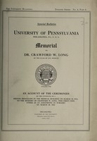 view Memorial to Dr. Crawford W. Long : an account of the unveiling of a bronze medallion in the medical building on March 30, 1912.