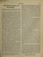 view The independence of psychology / by Charles S. Myers.
