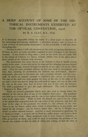 view A brief account of some of the historical instruments exhibited at the Optical Convention, 1926