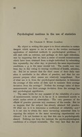 view Psychological cautions in the use of statistics