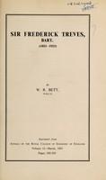 view Sir Frederick Treves, Bart