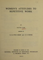 view Women's attitudes to repetitive work
