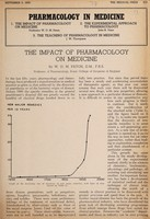 view Pharmacology in medicine. 1, The impact of pharmacology on medicine / by W.D.M. Paton.