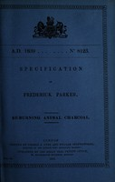 view Specification of Frederick Parker : re-burning animal charcoal.