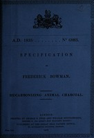 view Specification of Frederick Bowman : re-carbonizing animal charcoal.