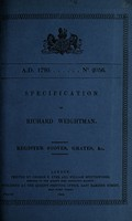 view Specification of Richard Weightman : register stoves, grates, &c.