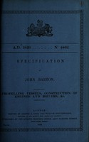 view Specification of John Barton : propelling vessels, construction of engines and boilers, &c.
