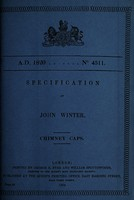 view Specification of John Winter : chimney caps.