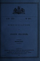view Specification of Joseph Fraunces : medicine.