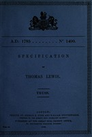 view Specification of Thomas Lewis : truss.