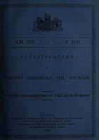 view Specification of Timothy Sheldrake : curing deformities of the human body.