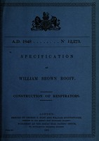 view Specification of William Brown Rooff : construction of respirators.