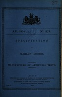 view Specification of Mahlon Loomis : manufacture of artificial teeth.
