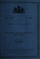 view Specification of Athanase Victor Constant Regnauld : medicine.