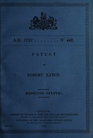 view Patent of Robert Eaton : medicine styptic.