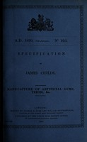 view Specification of James Childs : manufacture of artificial gums, teeth, &c.