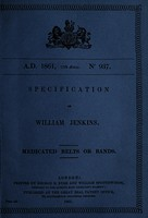 view Specification of William Jenkins : medicated belts or bands.