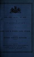 view Specification of John Cash & Joseph Cash, junior : winding surgical bandages.