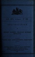 view Specification of Henry Joseph Francis Hubert Foveaux : valve for administering injections.