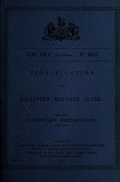 view Specification of Alexander Melville Clark : alimentary preparations.