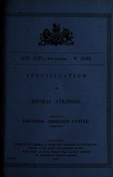 view Specification of Thomas Atkinson : treating diseased cattle.