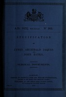 view Specification of James Archibald Jaques : surgical instruments.