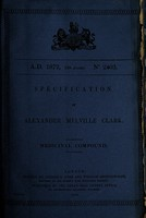 view Specification of Alexander Melville Clark : medicinal compound.