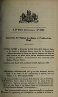 view Specification of Alexander Melville Clark : apparatus for taking the shape or profile of the head.