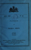 view Patent of Thomas Grent : baths.