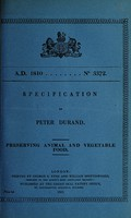 view Specification of Peter Durand : preserving animal and vegetable food.
