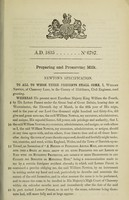 view Specification of William Newton : preparing and preserving milk.