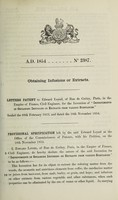 view Specification of Edward Loysel : obtaining infusions or extracts.