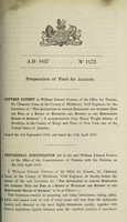 view Specification of William Edward Newton : preparation of food for animals.