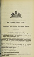 view Specification of Charles Adalbert Hermann Lindemann : preserving food, corpses, and textile tissues.