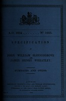 view Specification of John William Sloughgrove : furnaces and ovens.