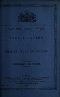 view Specification of Charles James Richardson : chimneys or flues.