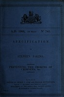 view Specification of Stephen Jakins : preventing the smoking of chimneys, &c.