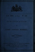 view Specification of James Conyers Morrell : dry closets.