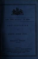 view Specification of Joseph Judge Hays : treating sewage.